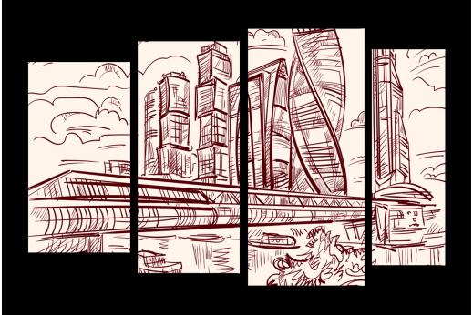 Модульная картина Набросок Москва-Сити